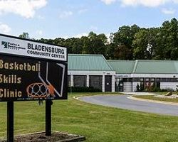 bladensburg community center exterior view with front sign