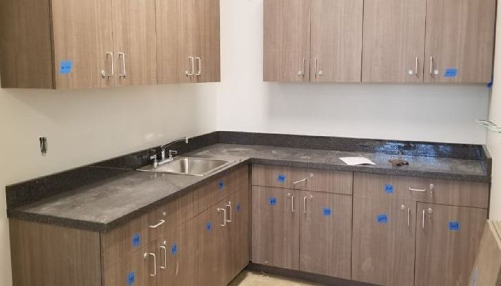 Installation of cabinets and counters in the Administration Office