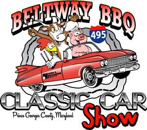 "Drawing of a pig, cow, and chicken in a red convertible with ""Beltway BBQ Classic Car Show"" wr"