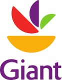 Logo for Giant Foods Grocery written in purple with yellow, red, purple, and green petals above