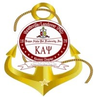 Logo for Kappa Alpha Psi Fraternity with a gold boat anchor behind the seal.